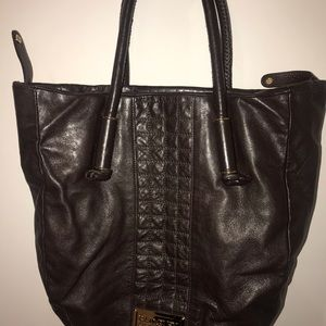 Badgley Mischka Brown Leather Should Bag